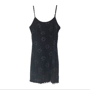 VINTAGE Hana Black & Floral Glitter Slip Dress H27